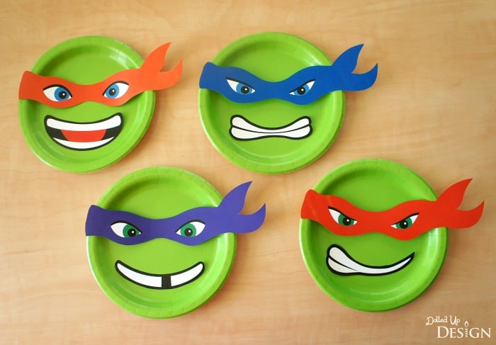 graphic relating to Ninja Turtle Masks Printable called Ninja Turtle Paper Plate Banner with Totally free Printables