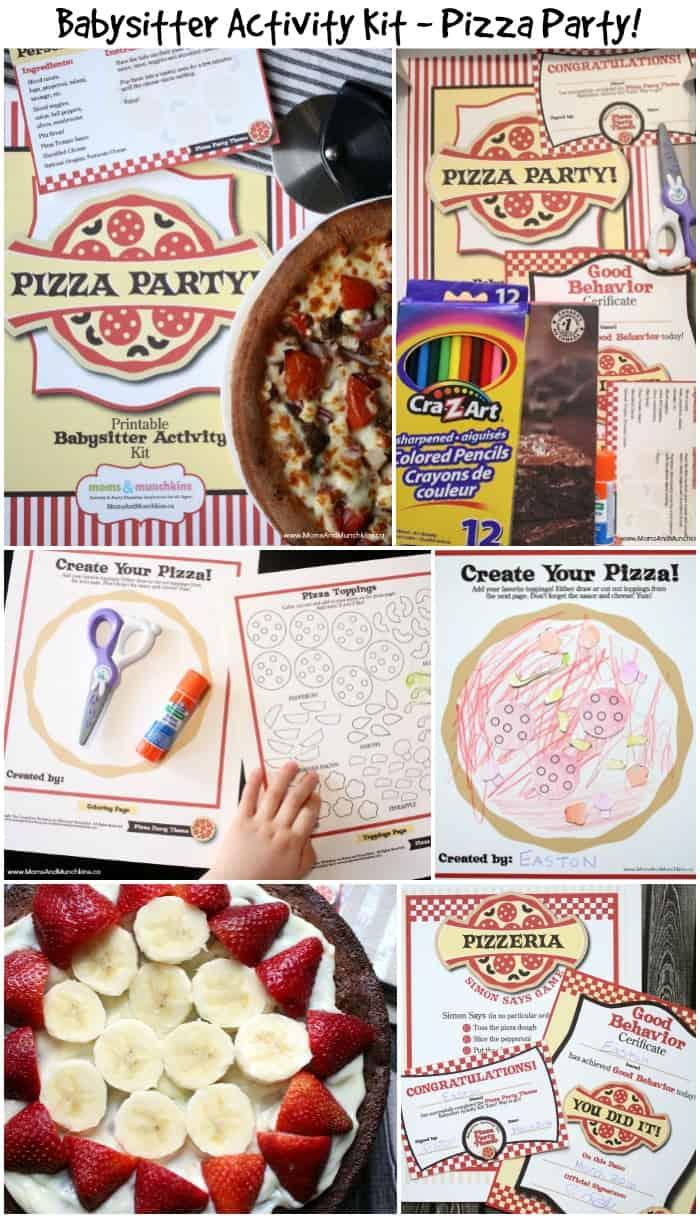 pizza party activities - babysitter kit