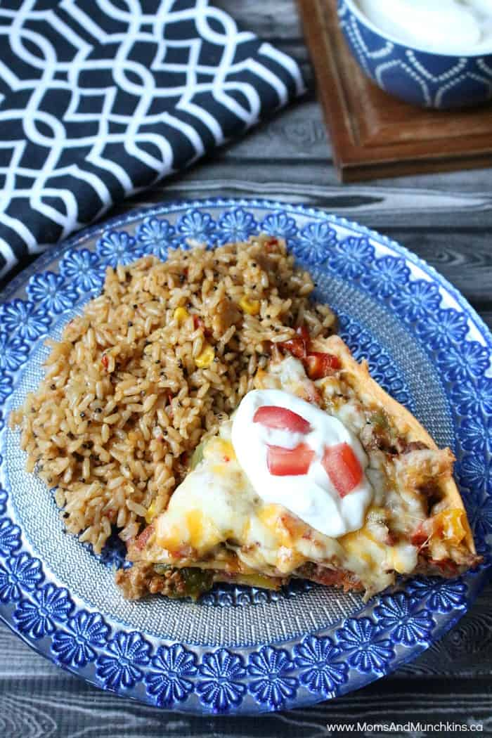Taco Pie Recipe and Spanish Rice