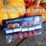 5 Little Pumpkins Printable Treat Bag Topper