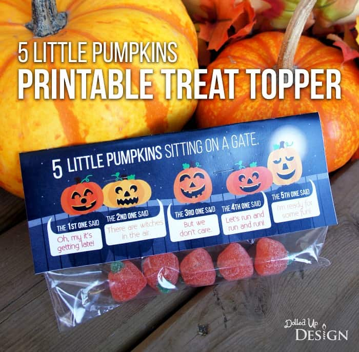 picture about Five Little Pumpkins Sitting on a Gate Printable named 5 Very little Pumpkins Printable Take care of Bag Topper - Mothers Munchkins