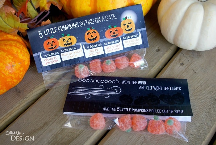 5 Little Pumpkins Printable Treat Bag Topper