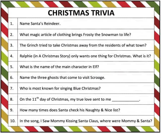 Printable Christmas Trivia Game