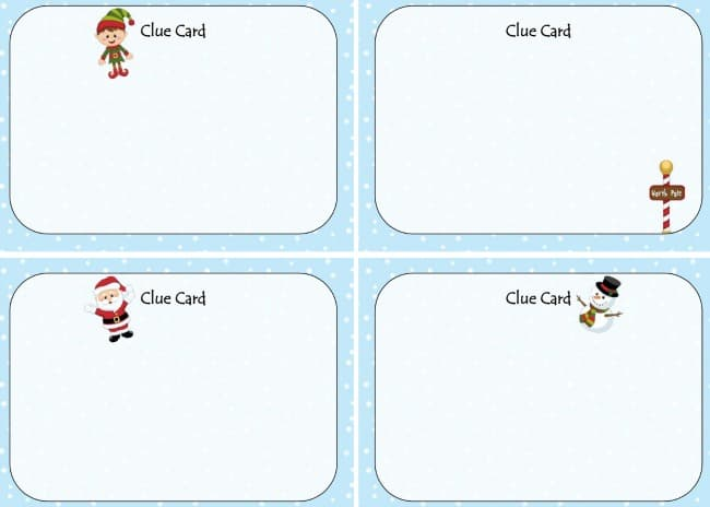image about Clue Cards Printable called Getaway Scavenger Hunt - A Great Xmas Activity