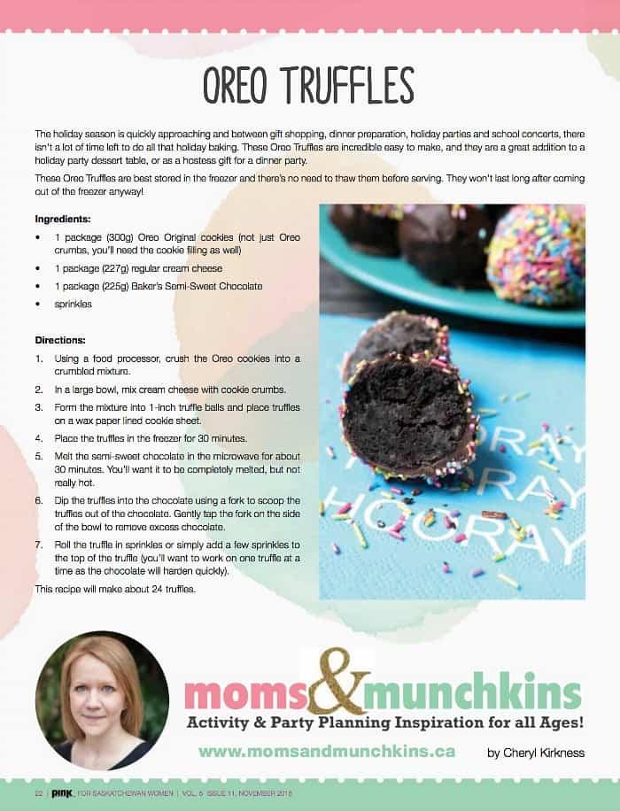 Oreo Truffles Recipe Pink Magazine Saskatchewan