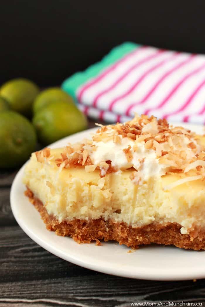 Key Lime White Chocolate Cheesecake Bars - Moms & Munchkins