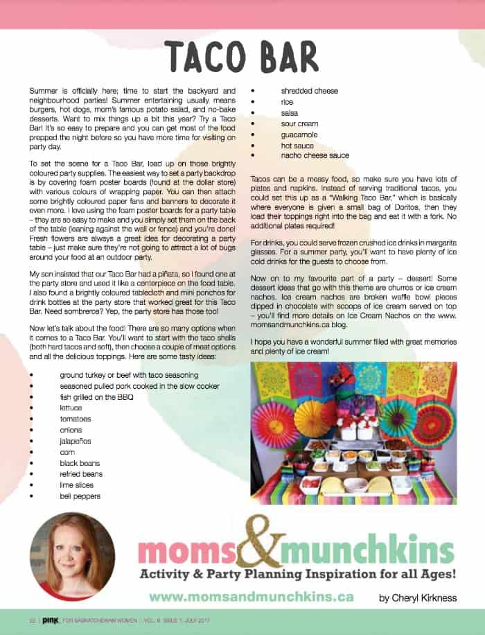 Taco Bar Ideas - Pink Magazine SK Cheryl Kirkness