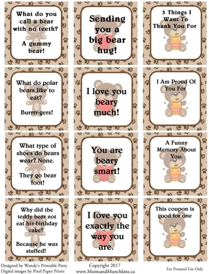 Free Bear Printable Lunch Notes For Kids