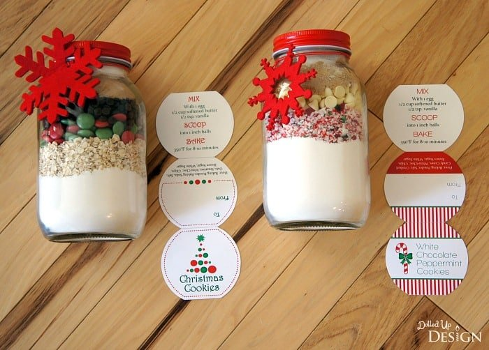 Christmas Cookies In A Jar Gift With Free Printables