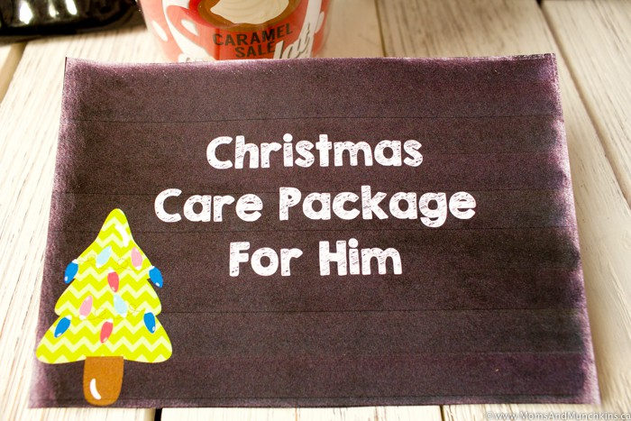 Christmas Care Package For Him Ideas and Free Printables