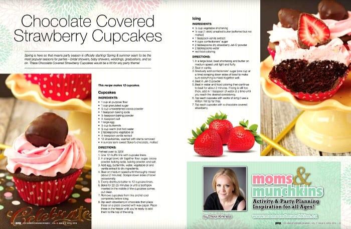 Chocolate Covered Strawberry Cupcakes in Pink Magazine Saskatchewan
