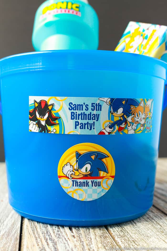 Sonic The Hedgehog Party Labels