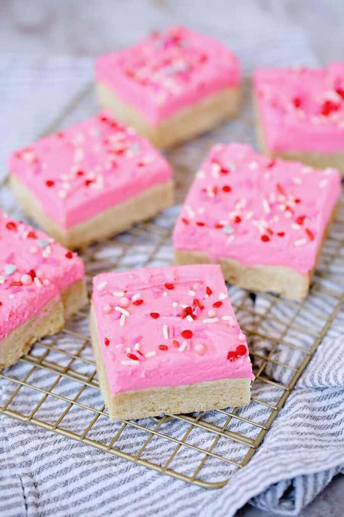Cut Squares of Valentine Sugar Cookie Bar