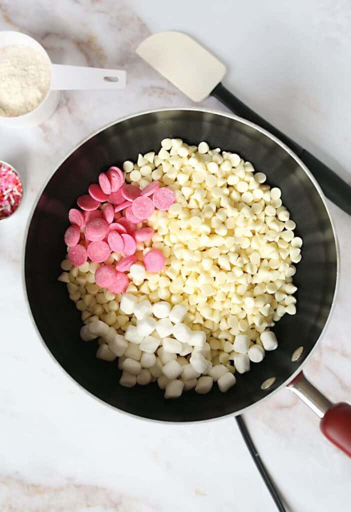 Homemade Fudge Ingredients in Pan