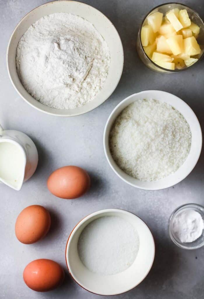 Ingredients for Pineapple Coconut Muffins