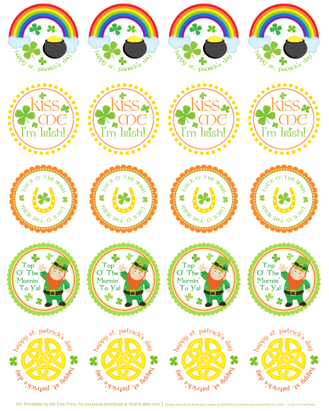 St Patrick's Day Labels and Stickers