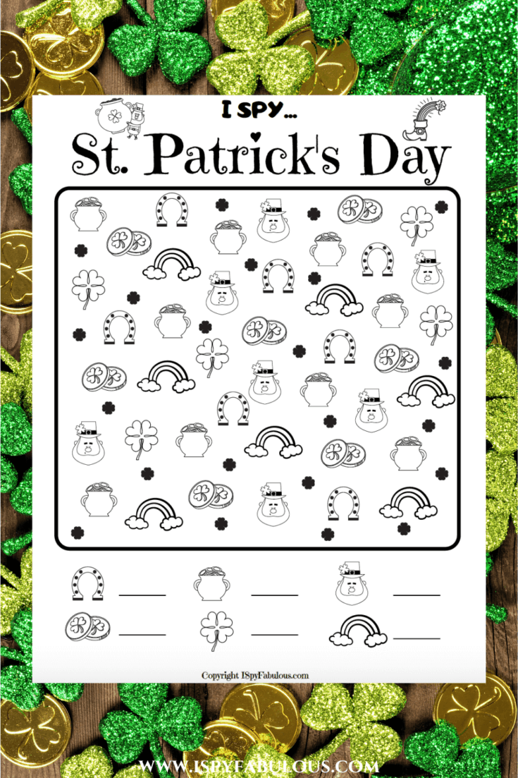 Free Colorable St. Patrick's Day I Spy Printable!