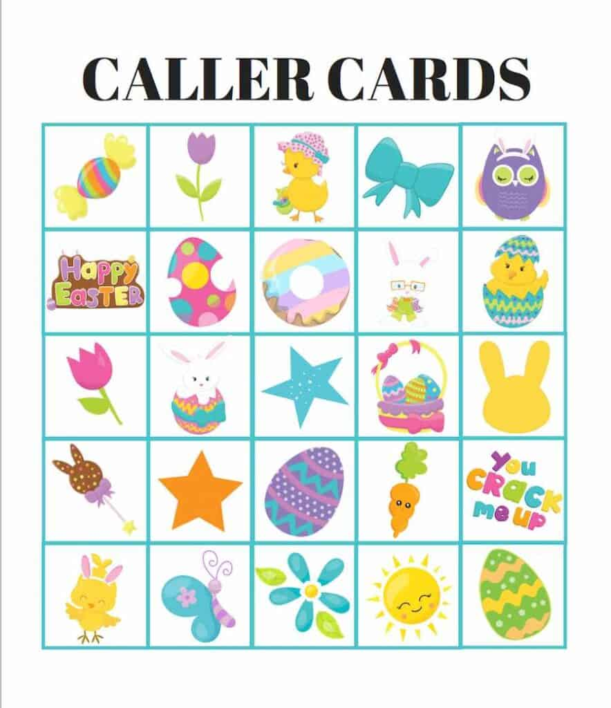 Easter Bingo Calling Cards Example