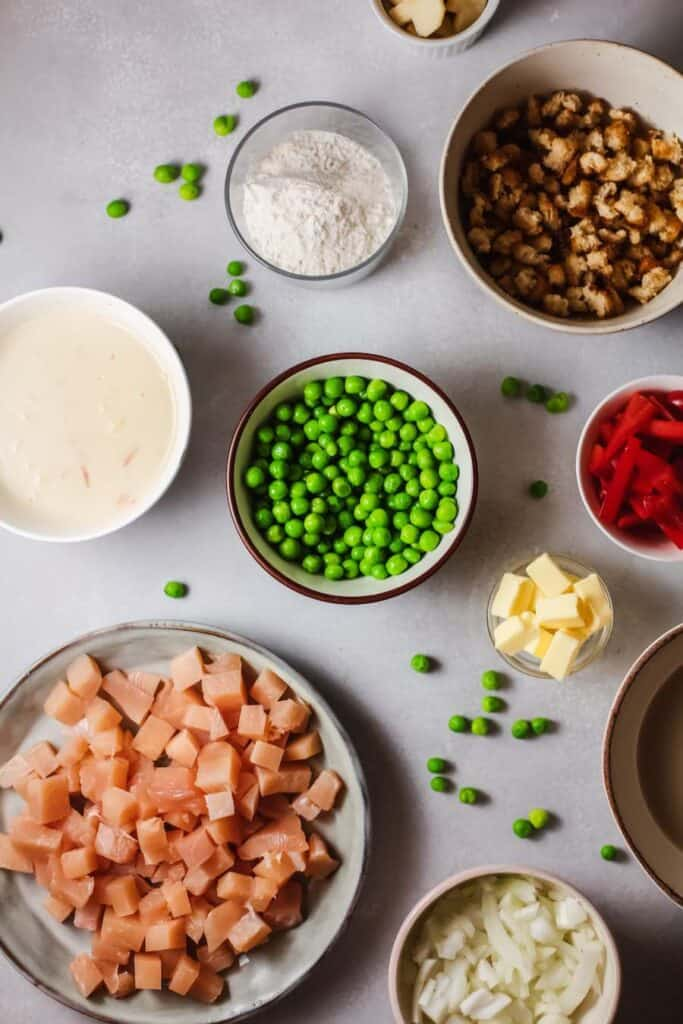 Ingredients for Chicken Pot Pie with Stuffing Crust