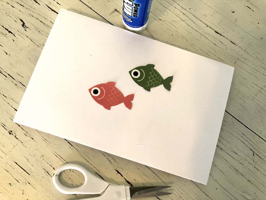 Glue fish to back of Card