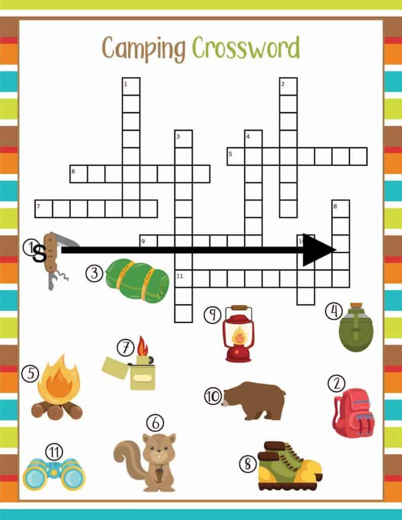 camping crossword printable