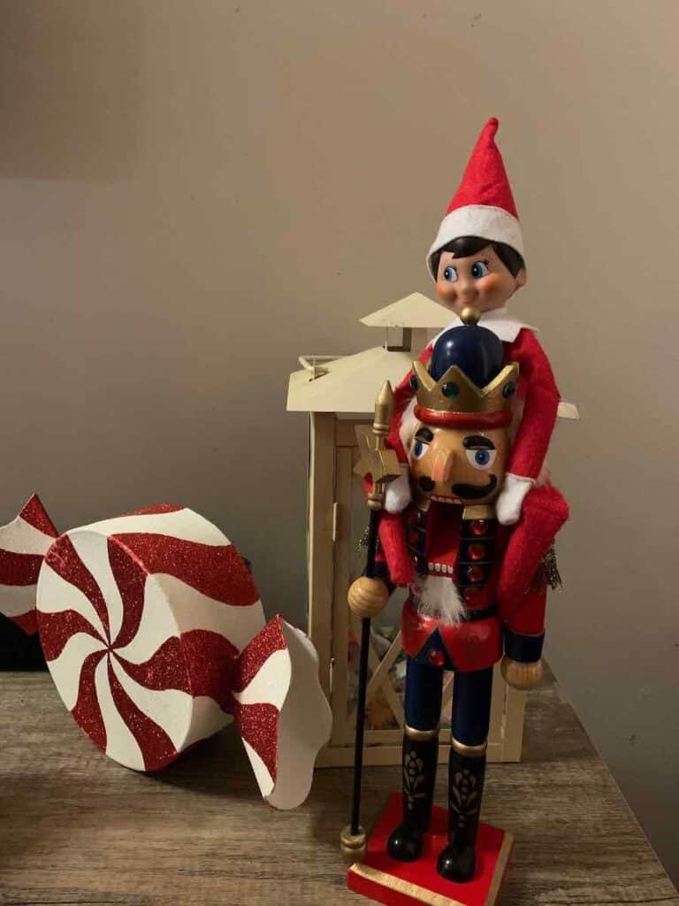 elf on shelf with nutcracker