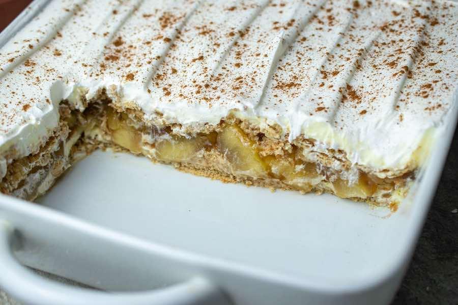 apple pie ice box cake in pan