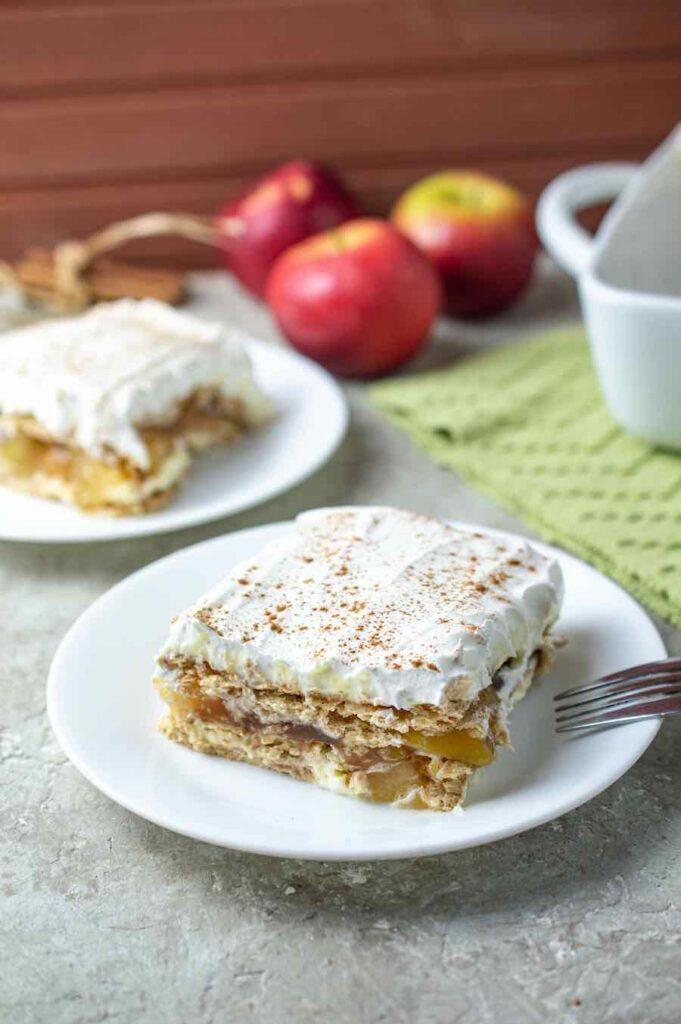 finished apple pie ice box cake